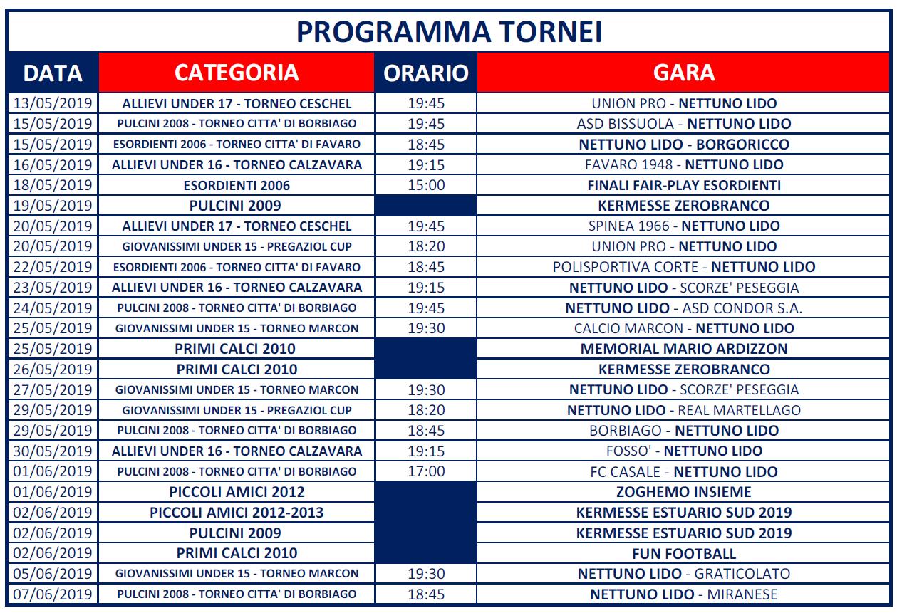 Programma Tornei